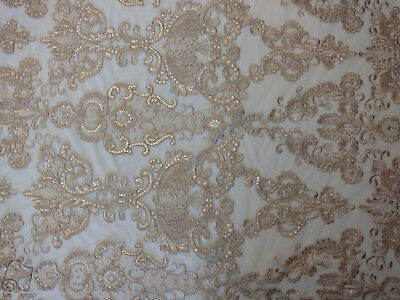 Antique Sequin Embroidered Lace Fabric By The Yard (Taupe)