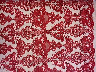 Antique Sequin Embroidered Lace Fabric By The Yard
