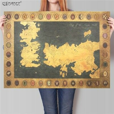 Game of Thrones World map Vintage Movie Kraft Paper Poster Classic retro Home de