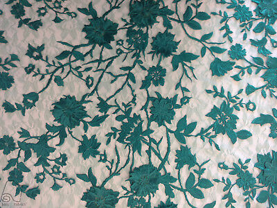 Embroidered Lace Fabric By The Yard 3D Floral Pop Out Flowers (Green)