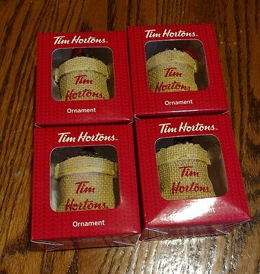 Tim Hortons 2016 Christmas Ornaments - Lot of 4 - Bag of Coffee Beans - New Rare