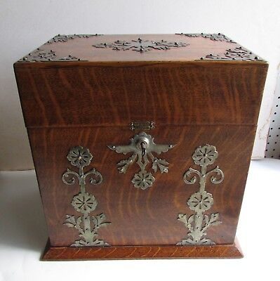 Rare Antique English Victorian Oak Traveling Tantalus Liquor Box with Games