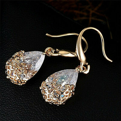 Women Zircon Crystal Rhinestone Drop Hook Dangle Earrings Charm Wedding Jewelry