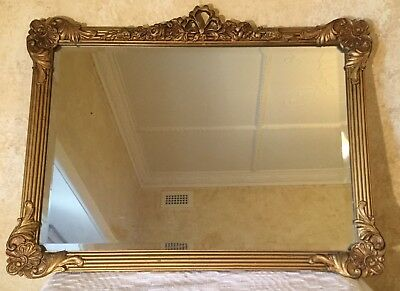 ANTIQUE GOLD FRAME CHIC LARGE BEVELLED WALL VINTAGE MIRROR Stunning!