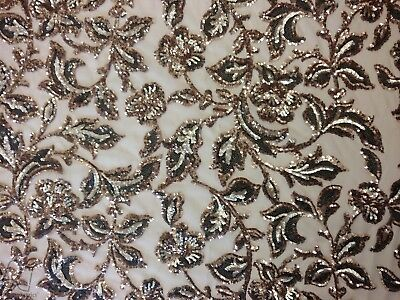Floral Sequin Lace Fabric By The Yard Multi-Colors Champagne