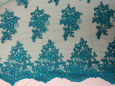 Sequin Embroidered Lace Fabric By Yard Floral Border (Turquoise)