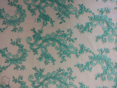 Sequin Embroidered Lace Fabric By Yard Ocean Coral Reef (Aqua)