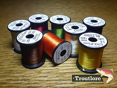 8 x SPOOLS UNI FLOSS RAYON BODY THREAD  NEW FLY TYING SUPPLIES & MATERIALS