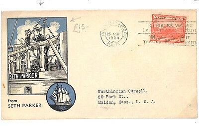 A239 1934 HAITI MARITIME Cover Super SETH PARKER Maritime Illustration