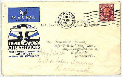 BK177 1934 GB AIR FDC *Railway Air Services* PHOTOGRAVURE FIRST DAY COVER