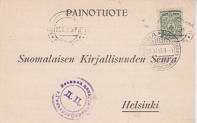 Finland-1915 WW 1 Russian censored Literature Society Hamina postcard cover