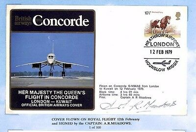 HH331 1979 GB CONCORDE *ROYAL FLIGHT KUWAIT* Cover Signed Pilot *A.R.MEADOWS*