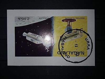 Nagaland in Indien Block von 1972 canceled Urra Newton Telescope Apollo XVI