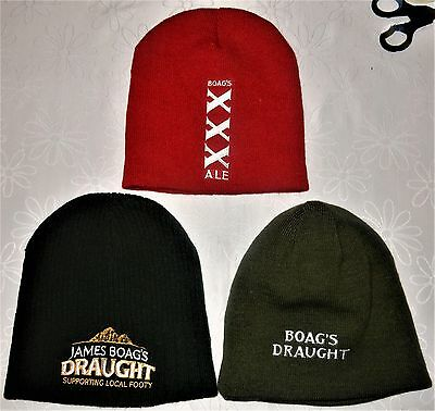 3 BOAGS BEANIES Boag's Draught . Red XXX ALE . James Boag's DRAUGHT Local Footy