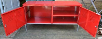 Vintage Red Industrial Double Metal Cabinet