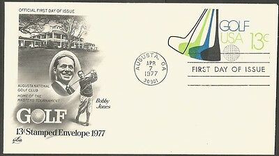 Us Fdc 1977 Bobby Jones Golf 13C Stamped Envelope Ac First Day Of Issue Cover