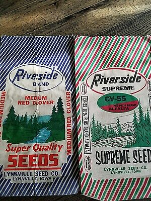 vintage seed sack or bag  lot of 2 Lynnville Iowa Alfalfa clover  16×31 inches