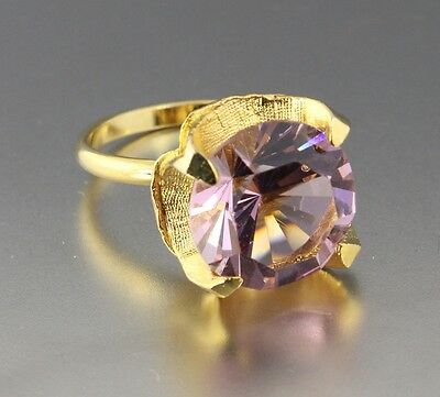 Vintage 60'S Gold Tone Pink Crystal Glass Rhinestone Adjustable Ring