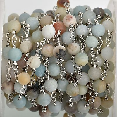 13ft MATTE AMAZONITE GEMSTONE Rosary Chain, silver, 6mm round beads, fch0740b