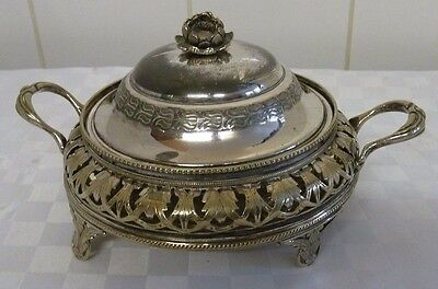 Vintage Silver Plated Lidded and  Glass Lined  Bon Bon Dish