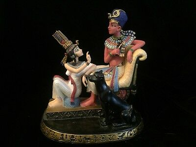 VERONESE Egyptian Resin FIGURE Statue King Queen Throne Panther 2000 Sculpture