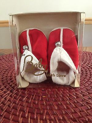 """Vintage """"FOR BABY WITH LOVE"""" Christmas Soft Sole Slipper Shoes Sz0 W/ Box Japan"""