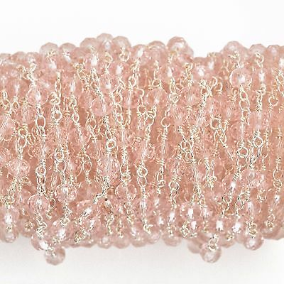 30ft LIGHT PINK Crystal Rosary Chain, silver double wrap, 6mm rondelle fch0653b