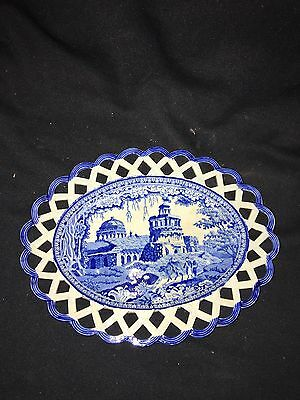 """Early 10 1/4"""" Reticulated Staffordshire Tray"""