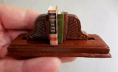 Dollhouse Miniature ~ Spring Action  Book Shelf ~ Handmade