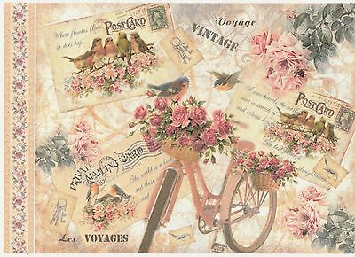 Rice Paper for Decoupage Scrapbook Craft Sheet Vintage Voyage