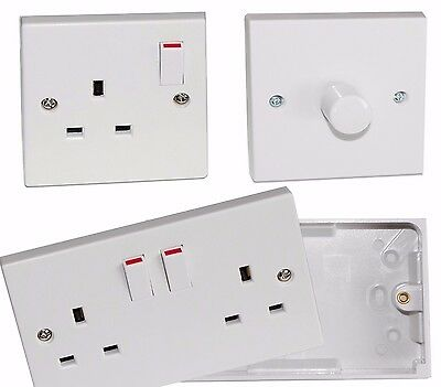 Twin Double Switched Socket White 13Amp Plug 2 Gang Pattress Box 25Mm / Dimmer