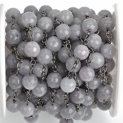 3ft GREY JADE GEMSTONE Rosary Chain, gunmetal links, 8mm round faceted fch0745a
