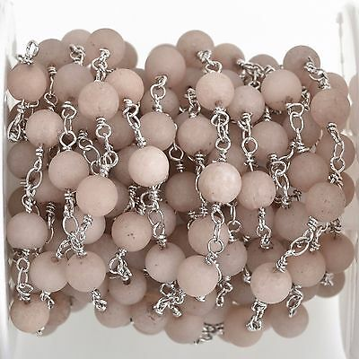 3ft Mushroom GREY Matte JADE GEMSTONE Rosary Chain, double silver, 6mm fch0746a