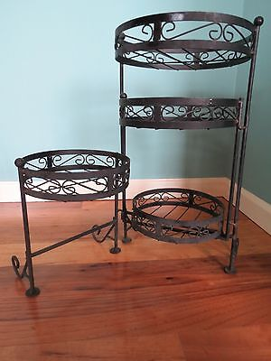 Vintage Round Metal Scroll 4-Shelf Folding Wrought Iron Plant Stand Rack Shelves
