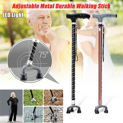Adjustable Walking Stick Cane Folding With Light LED Strap Handle Black Metal