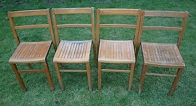 X4 Vintage Industrial Oak 1940's Stacking Chairs Seats Mid Century Cafe Dining