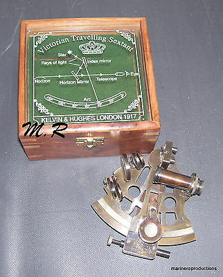 Solid Brass Sextant Nautical Working Instrument Astrolabe Maritime Wooden Box