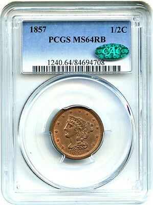 1857 1/2c PCGS/CAC MS64 RB - Nice Remaining Red - Half Cent - Nice Remaining Red