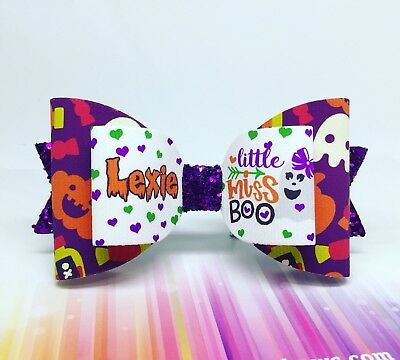 Halloween Hair Bow -  ANY NAME - 1 X Personalised Glitter Bow. Little Miss Boo!!