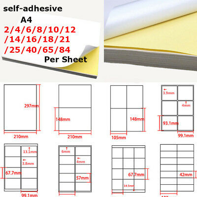 Lot A4 Glossy Self-adhesive Print Paper Shipping Sticker, 1~84 Labels Per Sheet