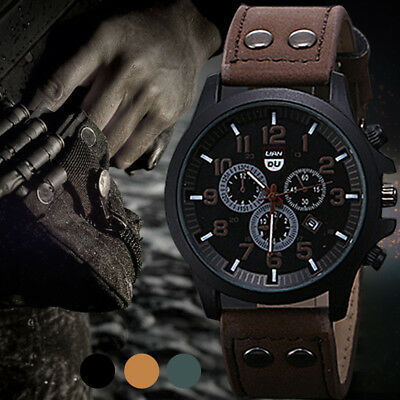 Men's Vogue Army Date Leather Band Watches Sport Quartz Analog Wrist Watch Hot