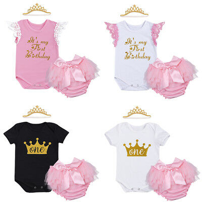 Baby Girls 1st Crown Romper Bloomers Pants Headband Birthday Cake Smash Outfits