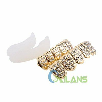 AU Bling Top&Bottom Teeth Caps Hip Hop Tooth Grillz Set For Halloween Cosplay
