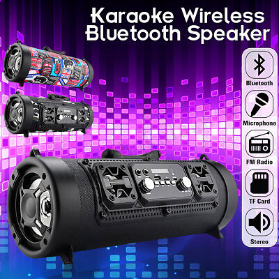 AU Wireless Bluetooth Speaker Stereo Sound Loud Bass AUX Mic TF SD MP3 Subwoofer