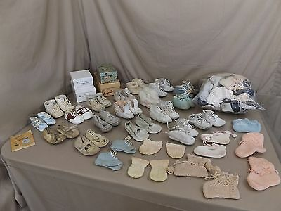 Huge Antique Vintage Child Baby Doll Shoes Shoe Lot Booties Ideal Leather ++