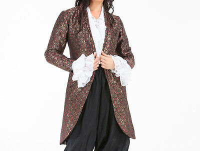 Womens Brocade Privateer Jacket, Satin lining, Captain, Pirate, LARP, Ladies,