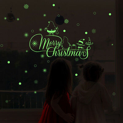 Merry Christmas Luminous Removable Wall Window Stickers Art Decals Home Decor