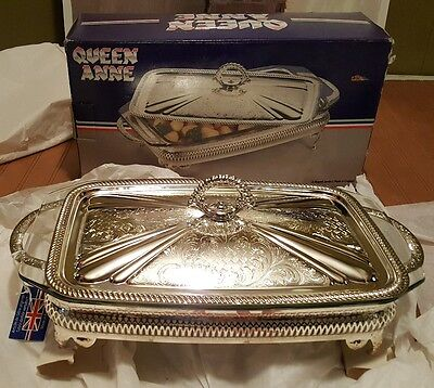 Vgt. RARE w/Tag Queen Anne Pyrex England Casserole Dish Silver Plated Mayell NEW