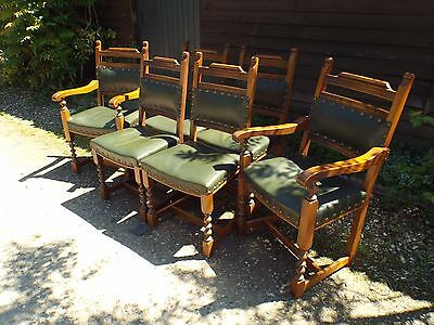 Set of Six Old Charm (4+2) Solid Oak Antique Style Dining Chairs