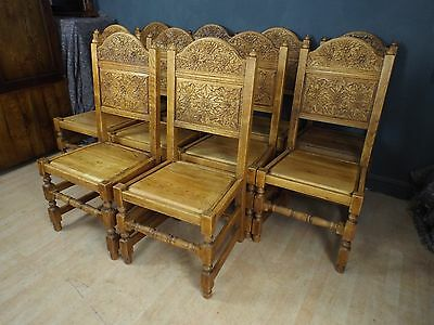 Quality Set of 10 Ten Solid Carved Oak Dining Chairs